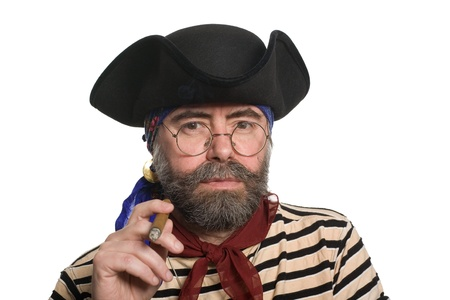 scoundrel: Bearded pirate smoking a cigar. Isolated on white.