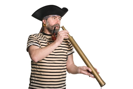Pirate holds a telescope and smokes a pipe. Isolated on white. photo