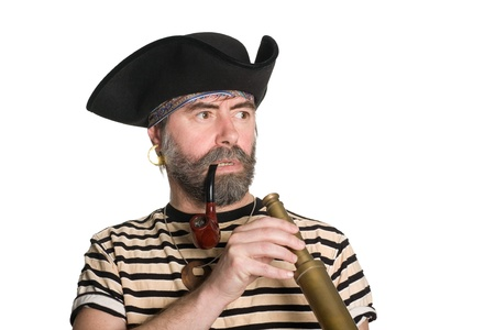 ransack: Pirate keeps his telescope and looks anxiously to the side.