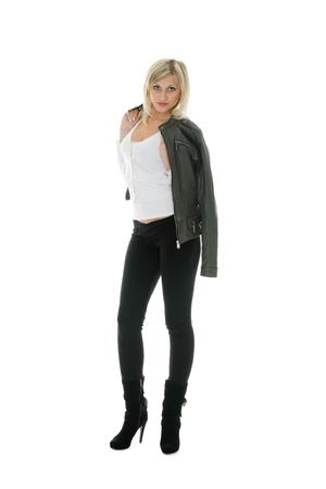 tight jeans: Beautiful girl in leather jacket and jeans.