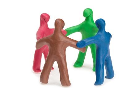 plasticine: Team of plasticine people in a circle
