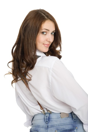 suspenders: Young woman in jeans with suspenders. Stock Photo