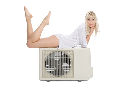 condition: Beautiful girl with a new model for the air conditioner.