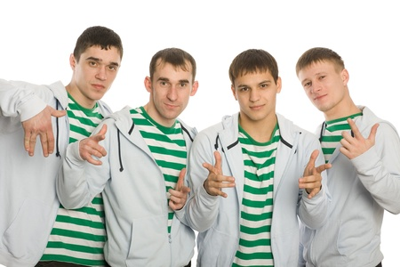 gesticulating: Team of young guys gesticulating fingers.