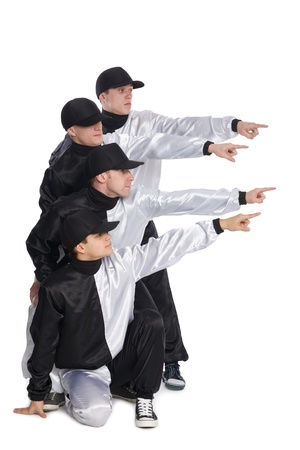 Four of guys pointing his hands to the side. Isolated on white. photo