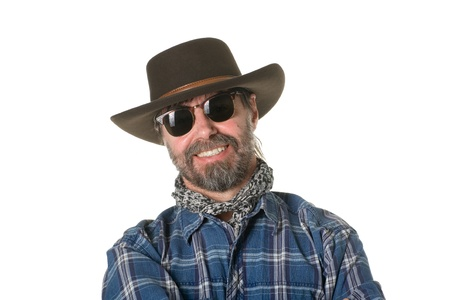 Middle aged man in a cowboy hat. photo