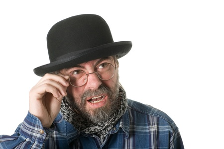 Curious man with a beard and a bowler hat. photo