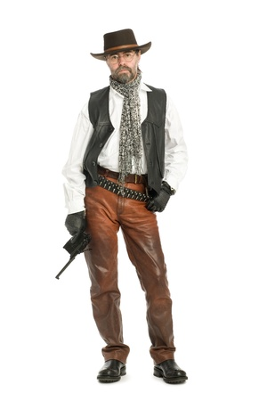 leather pants: Middle aged man dressed as a retro style.