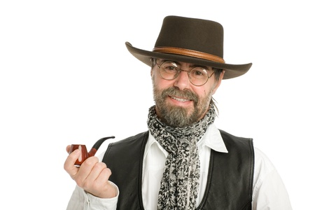 Stylish middle aged man with a smoking pipe. photo