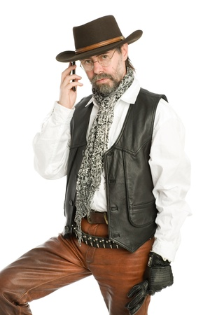 cowboy beard: Interesting man in the suit retro-style talking on a mobile phone
