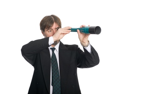 50 55 years: Businessman looking through a spyglass. Prospects for future business.