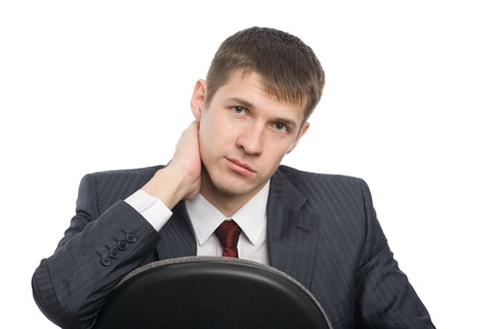 Pensive handsome young businessman. Isolated on white. Stock Photo - 10407919
