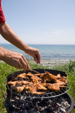 Preparation of a barbecue from a chicken on seacoast. photo