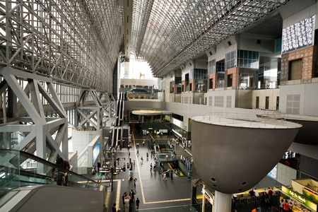 A modern architectural steel structure of Kyoto station.Japan photo