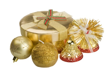 Christmas baubles: gift, bells, ball, candle. Isolated on white. photo
