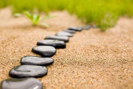 reflexion: Camino de piedra abstracta sobre la arena en el fondo de una hierba