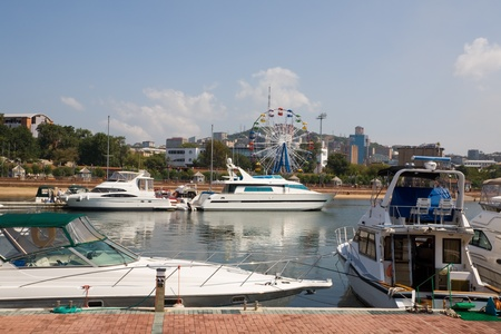 Yachts at a mooring in harbour.Vladivostok port.Russia. photo