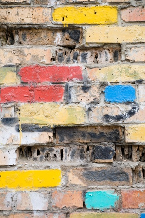 erosion: Old brick wall under influence of erosion Stock Photo