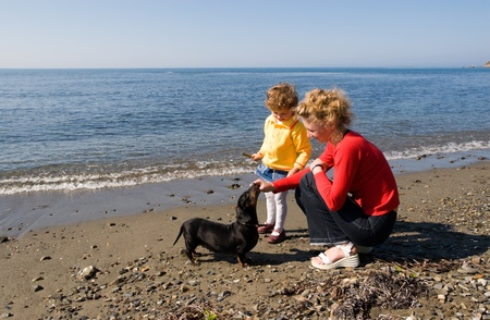 Mom and the daughter play with a dog(dachshund) at the sea. photo
