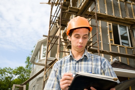 Building inspector on a working platform Stock Photo - 10531750