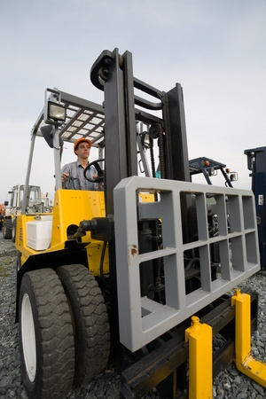 Operator working on the forklift Stock Photo - 10532169