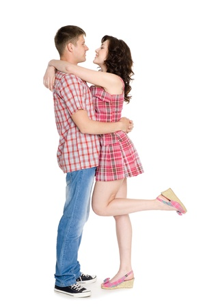 Happy girl and guy hugging each other. Stock Photo - 10551209