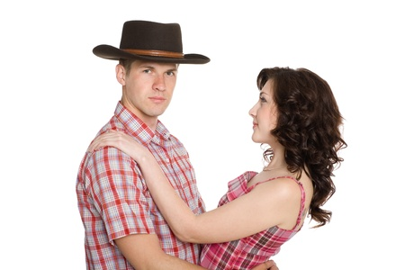 In love with a girl and a guy in a cowboy hat. photo