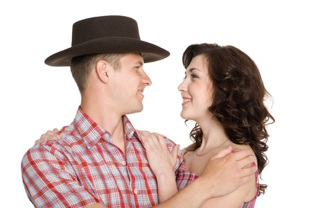 Lucky girl and a guy in a cowboy hat. photo