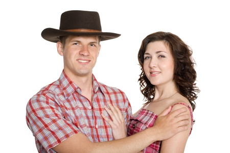 stetson: Joyful girl and a guy in a stetson. Isolated on white. Stock Photo