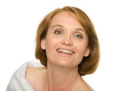 cutout old people: Smiling attractive mature woman in white. Stock Photo
