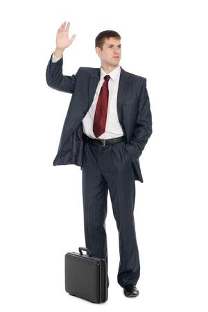 gente saludando: Empresario joven guapo con un gesto de bienvenida. Aislado en blanco.