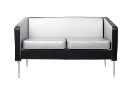 Gray-black sofa in a modern style isolated on white. Stock Photo - 10573544