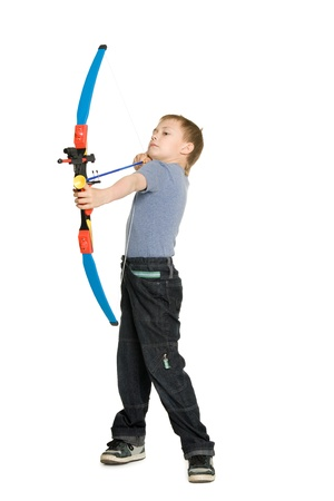 bowman: Blonde boy shooting a bow for kids.