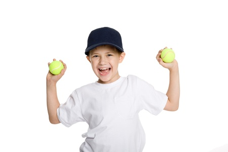 Screaming boy with tennis balls. Isolated on white.