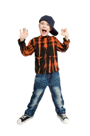 Screaming boy with raised hands. Stock Photo - 10573939