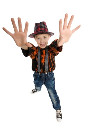 Crying boy making stop gesture. Stock Photo - 10573508