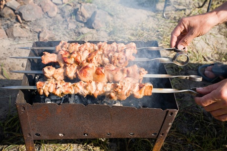 Barbecue meat on the coals. photo