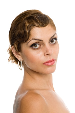 bare shoulders: Beautiful woman with bare shoulders. Stock Photo