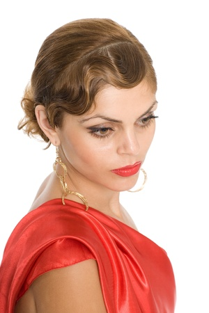 Portrait of a beautiful young woman in the red.