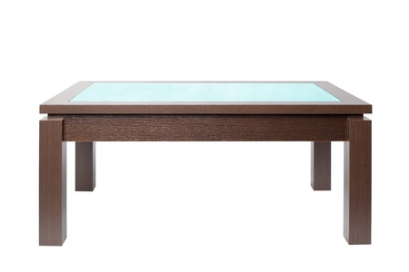 Coffee table in dark wood isolated on white.