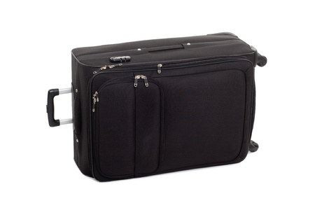 Large black suitcase for travel. Modern design. photo