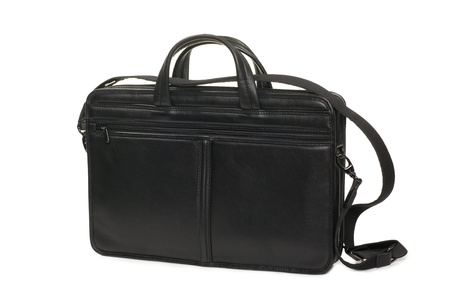 Fashionable leather briefcase on a white background  photo