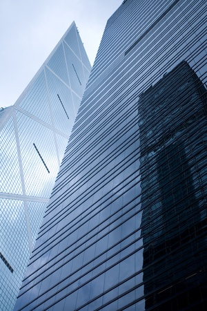 Glass wall of office buildings in Hong Kong.