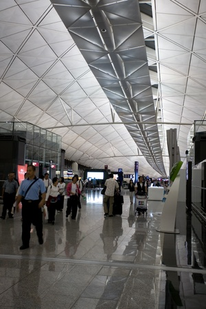 HONG KONG - OCTOBER 5: Hall of Terminal International Airport (Chek Lap Kok Airport) in the evening on October 5, 2011 in Hong Kong.