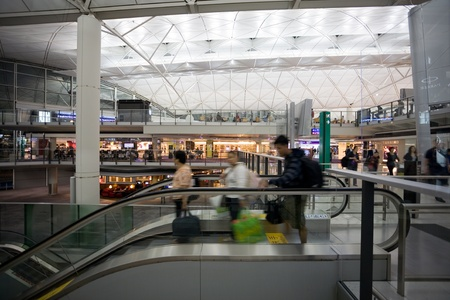 chek: HONG KONG - OCTOBER 5: Hall of Terminal International Airport (Chek Lap Kok Airport) in the evening on October 5, 2011 in Hong Kong. Editorial
