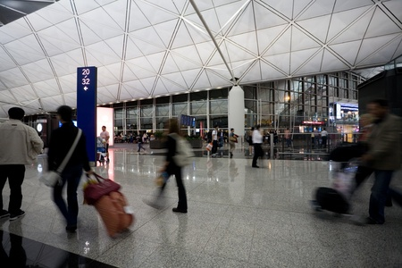 HONG KONG - OCTOBER 5: Hall of Terminal International Airport (Chek Lap Kok Airport) in the evening on October 5, 2011 in Hong Kong. Stock Photo - 11200873