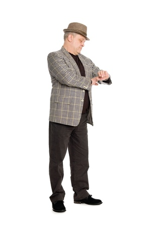 Elegant middle aged man waiting for checks his watch. Stock Photo - 11720609