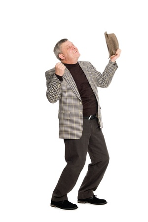 Enthusiastic middle aged man looking up. Stock Photo - 11720630