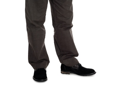 Elegant men's trousers and suede shoes. photo
