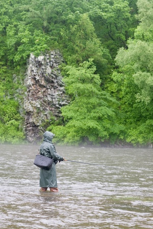 Fisherman catches of salmon on a mountain river. Is rain. Fog. photo